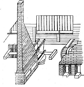 Вододействующие меха при плавильных печах Барнаульского завода. Чертеж 1758 года. Позднейшая репродукция. Внешний вид.