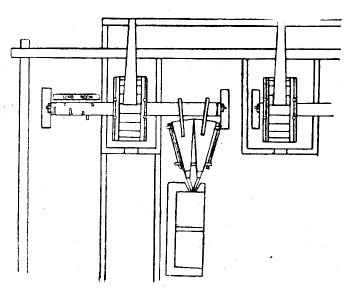 Вододействующие меха при плавильных печах Барнаульского завода. Чертеж 1758 года. Позднейшая репродукция. План (справа и слева вверху – водяные колёса; ниже – мехи, еще ниже – плавильная печь)