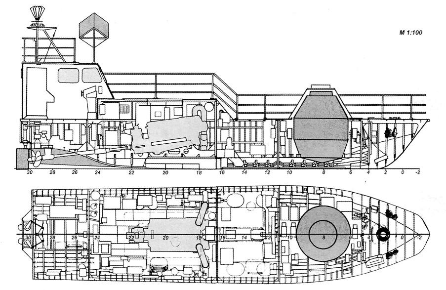 Телеуправляемый катер проекта 13180 «Пластрон-2» со сверхпроводящей магнитной системой дистанционного траления мин