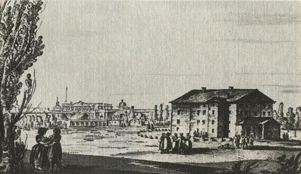 Деревянный театр на Царицыном лугу. Рисунок Дж. Кваренги. 1780-е гг.