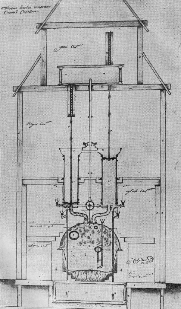 Чертеж машины Ползунова, выполненный в 1765 г.