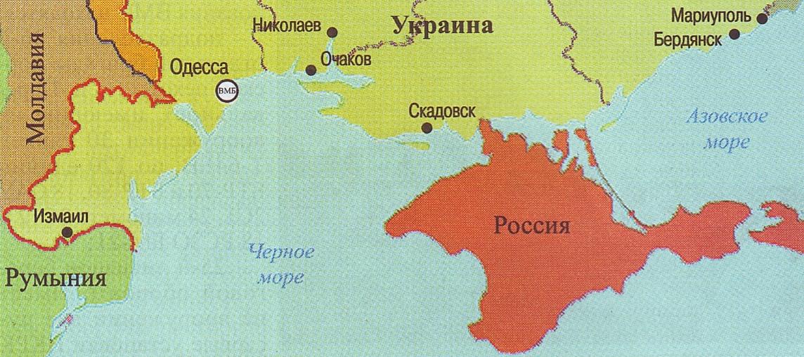 Карта Украины без Крыма, Молдавии без Приднестровья