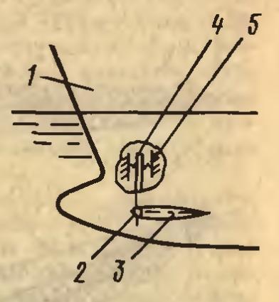 1-корпус судна; 2-вал; 3-подводное крыло небалансирного типа; 4-кронштейн; 5-пружина