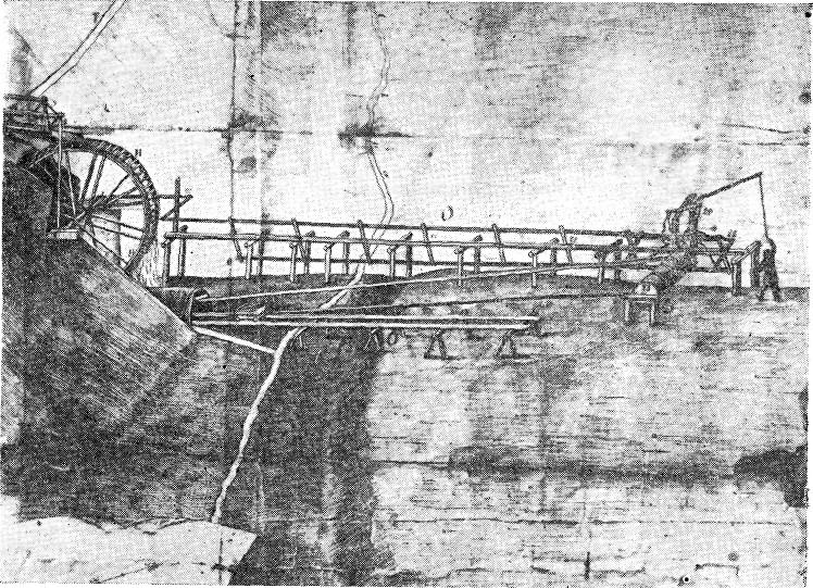 Лежневые пути с тележками, приводимыми в движение от водяного колеса