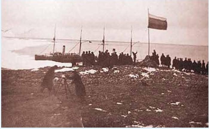 Подъем российского флага на Северной Земле 4 сентября 1913 года