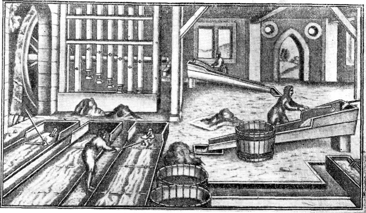 Рудообогатительное заведение с оборудованием, характерным для мануфактурной техники XVIII века