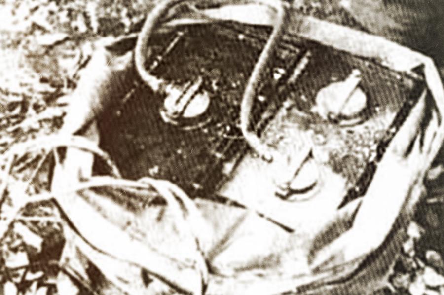 Радиоуправляемая мина Ф-10 в прорезиненном мешке