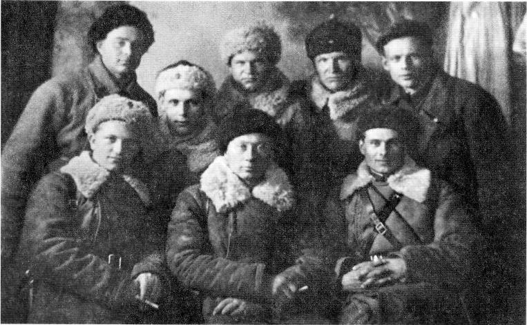 Командир роты лейтенант Иванченко со своими офицерами. Финская кампания. 1940 год