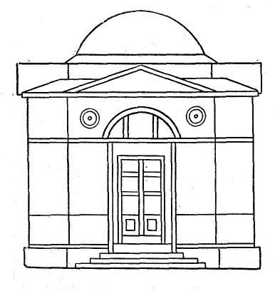 Фасад павильона для магнитометрических и метеорологических наблюдений. Выкопировка Н.Я. Савельева из подлинного чертежа