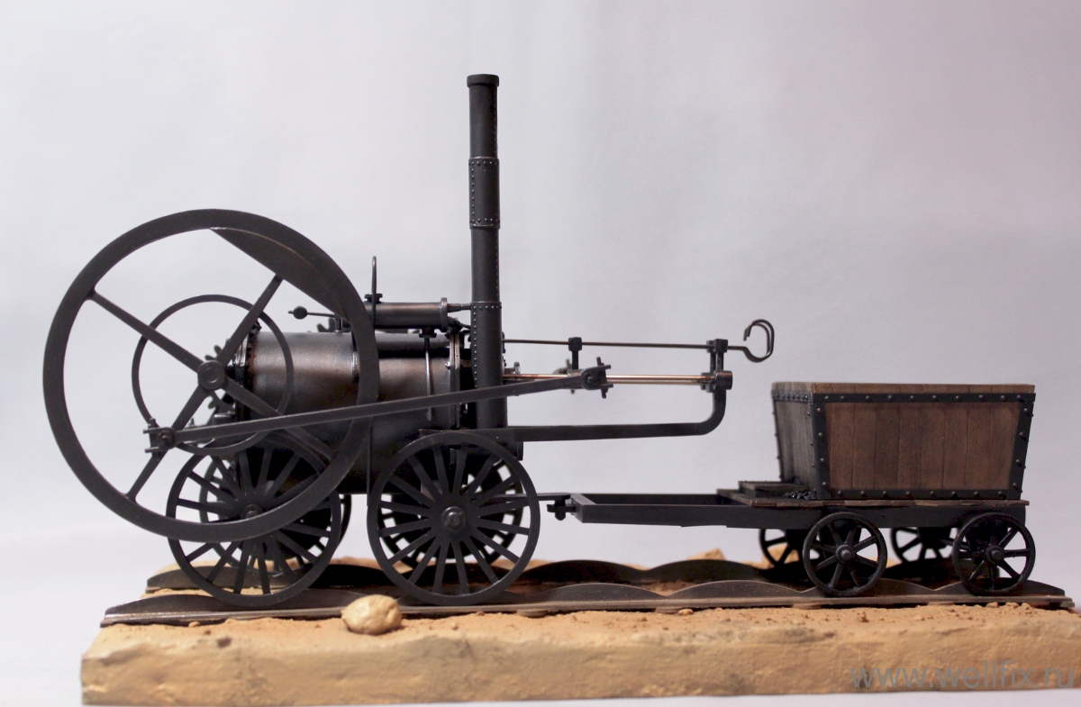 Первый в мире паровоз английского инженера Р. Тревитика, построенный в 1803-1804 гг.