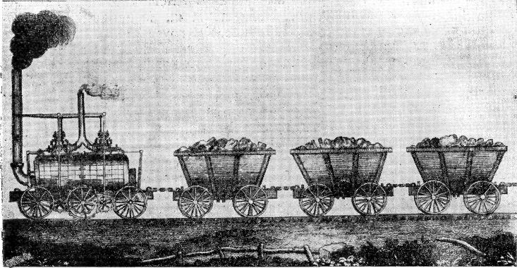 Изображение зубчатоколёсного паровоза Бленкинсопа — Мэррея с составом вагонеток на чугунной дороге Миддлтон — Лидс. Иллюстрация к статье в «Северной почте» (1815)