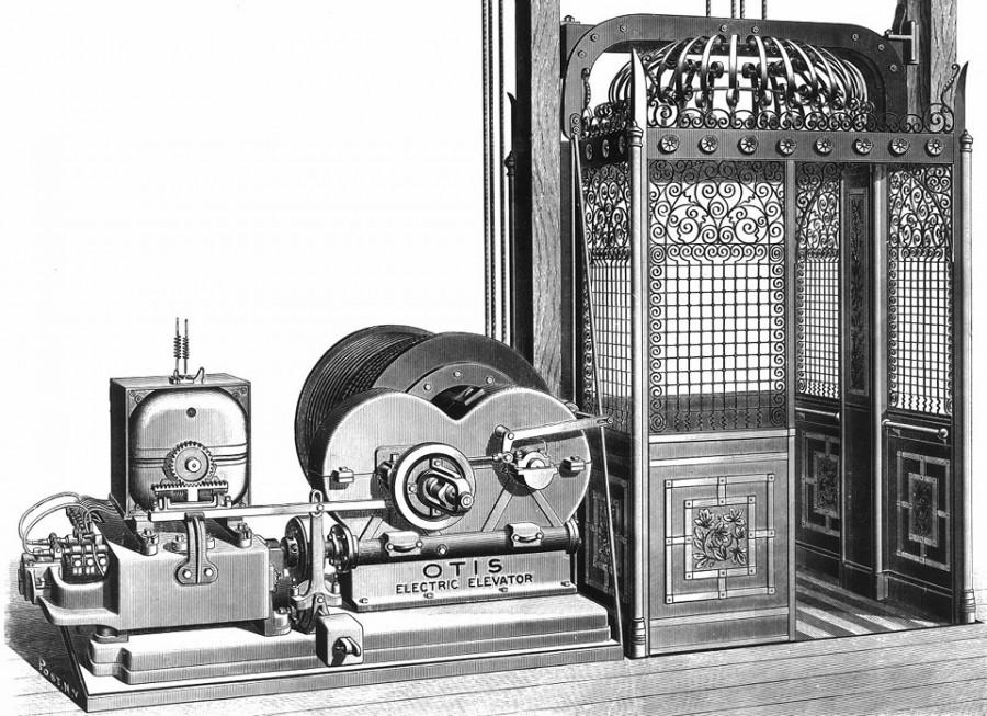 Один из первых серийных электрических лифтов фирмы Otis Elevator