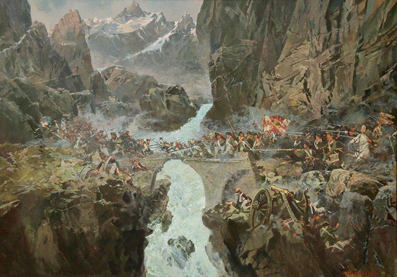 Швейцария, Альпы. Битва за Чёртов мост, 1799 г.