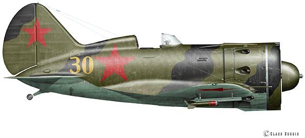 Истребитель И-16 с реактивными снарядами РС-82